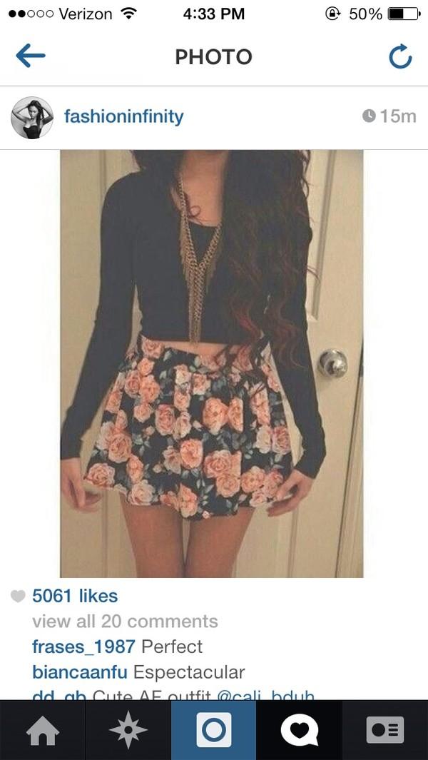 skirt floral circle skirt black flowers colorful