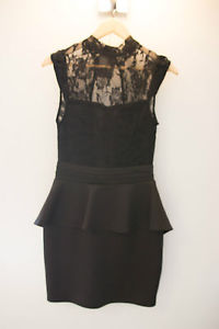 Cute 'Blonde' Brand Backless Peplum Lace Black Dress Stretch Formal 10 Sale Mini | eBay