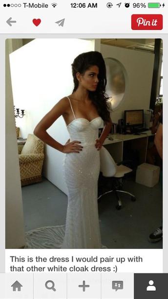 dress white prom dress spaghetti strap elegant dress