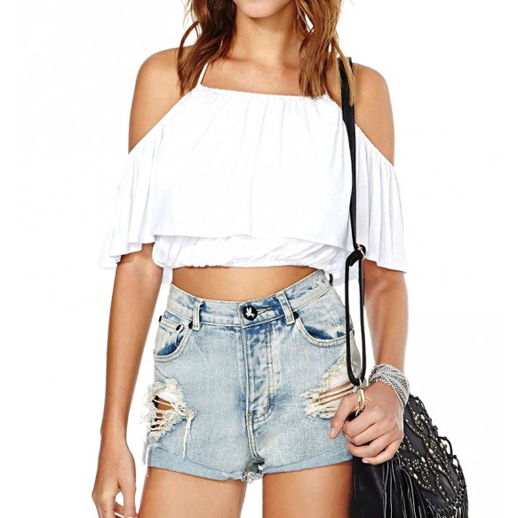 Halter Neck Off Shoulder Layer Crop Top at Style Moi