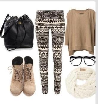 scarf pants patterned leggings brown sweater sweater nerd glasses bag black bag boots combat boots white scarf brown combat boots shoes blouse combinaison leggings