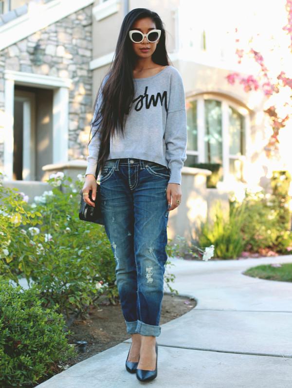 honey and silk sweater jeans sunglasses bag jewels
