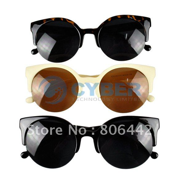 Free Shipping New Unisex Designer Semi Rimless Super Round Circle Cat Eye Retro Sunglasses-in Sunglasses from Apparel & Accessories on Aliexpress.com