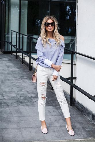 zorannah blogger top jeans shoes bag sunglasses blouse loafers ysl bag ripped jeans shirt tumblr blue shirt asymmetrical asymmetric shirt white jeans pink bag ysl ombre hair long hair