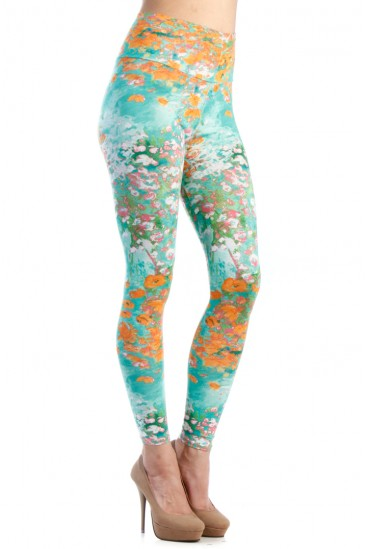 LoveMelrose.com From Harry & Molly | MINT FLORAL PRINT HIGH WAISTED LEGGINGS