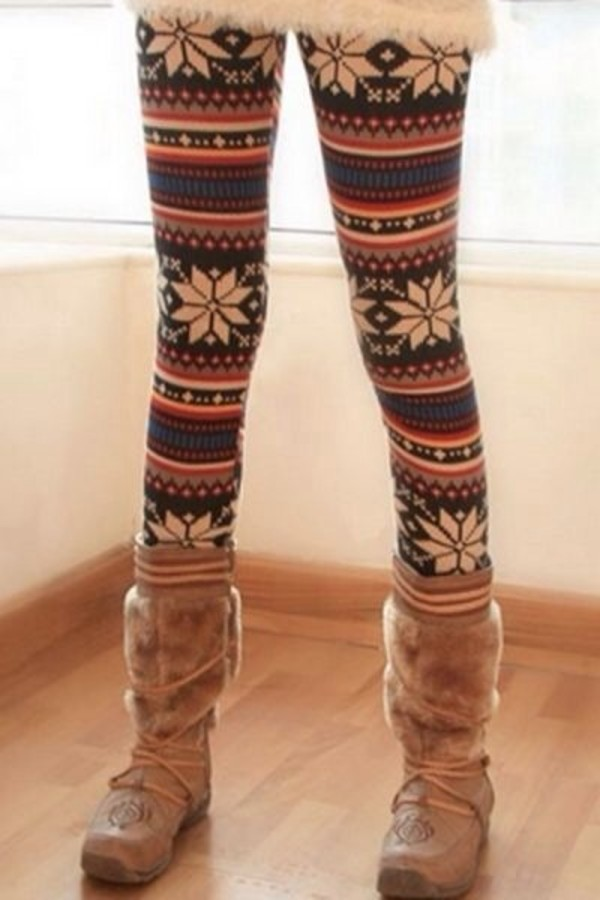pants leggings fleece leggings aztec leggings snowflake leggings