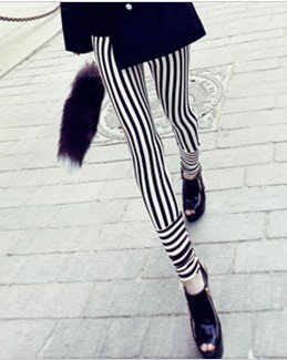 East Knitting FREE SHIPPING B14 2013 Fashion Women pants black and white Striped Leggings Hot Sale wholesale-in Socks & Hosiery from Apparel & Accessories on Aliexpress.com