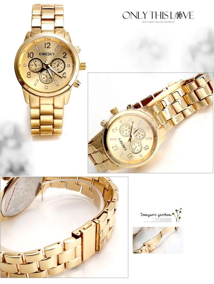 Unsex Gold Diamante Case Gold Chain Band Quartz Analog Wrist Watch - DualShine