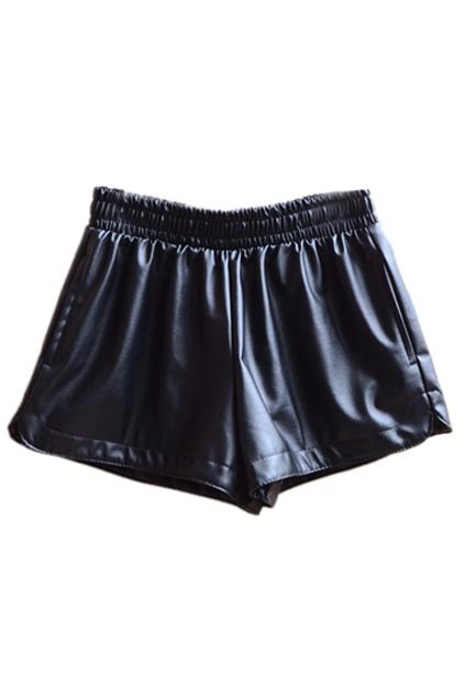 ROMWE | Elastic Waist Faux Leather Black Shorts, The Latest Street Fashion