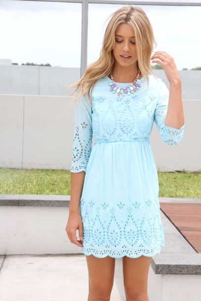 dress pastel cute dress blue dress summer dress baby blue spring dress lace dress long sleeve dress midi dress classy dress summer outfits baby blue light blue dress sabo sabo skirt embroidered light blue lace light blue dress short clothes