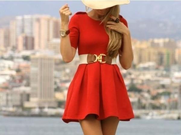 dress skater dress belt red dress