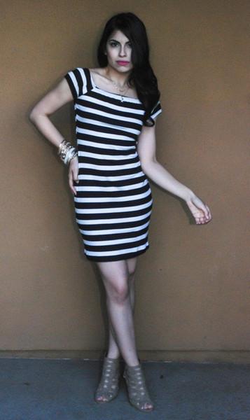 Black and Whites Stripes Dress