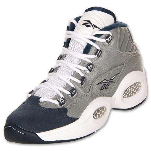 Men's Reebok Question Mid Basketball Shoes| FinishLine.com | Flat Grey/Athletic Navy/White