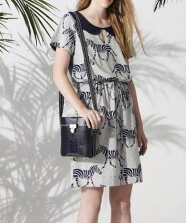 dress print dress horse print summer dress sundress sun dress loose preppy teenagers beach dress streetstyle