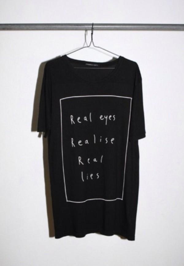 t-shirt black black t-shirt message tshirt real eyes