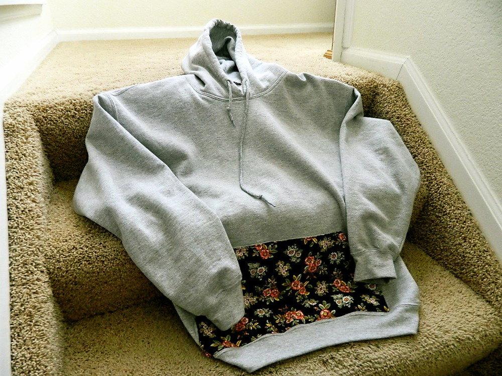 Floral Pocket Hoodie (Grey) on Wanelo