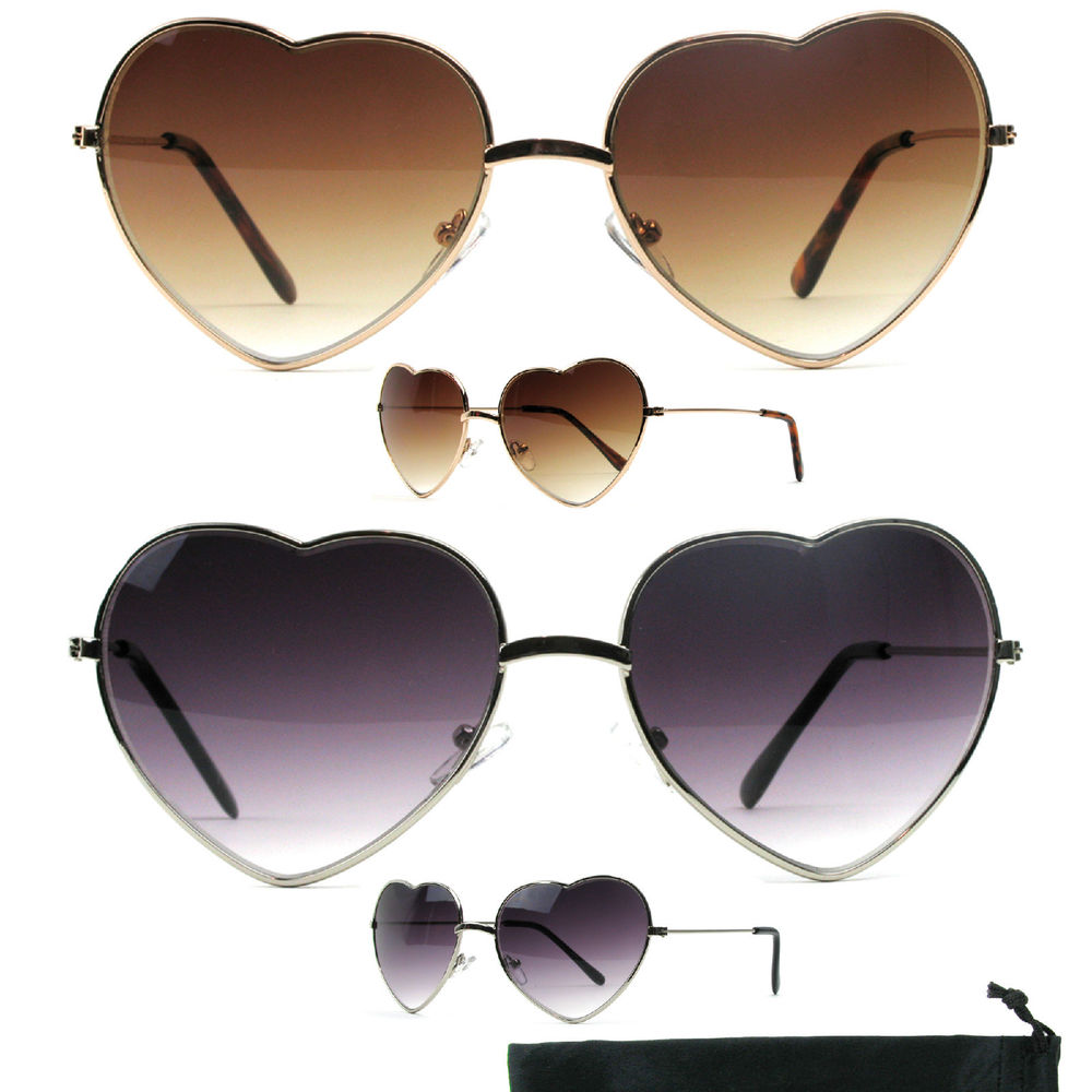 Heart Shape Sunglasses Womens Choose Gold or Silver Love Aviator M9767AP 18 066 | eBay