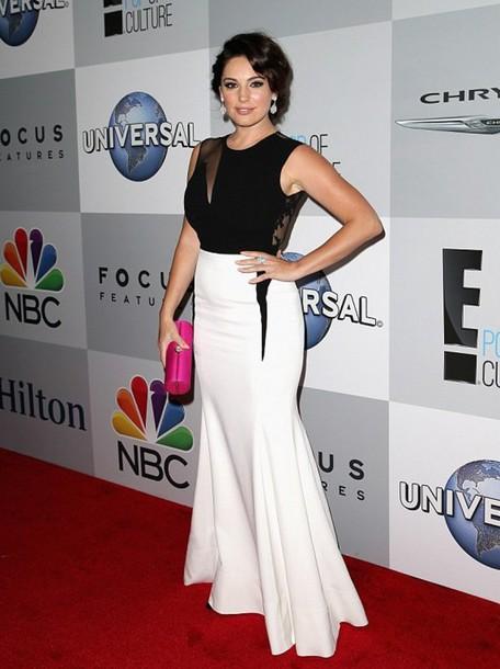 dress kelly brook Golden Globes 2015 black and white dress