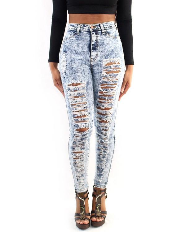 jeans shredded high waisted jeans