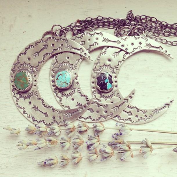 jewels moon necklace moon necklace hippie boho bohemian jewelry