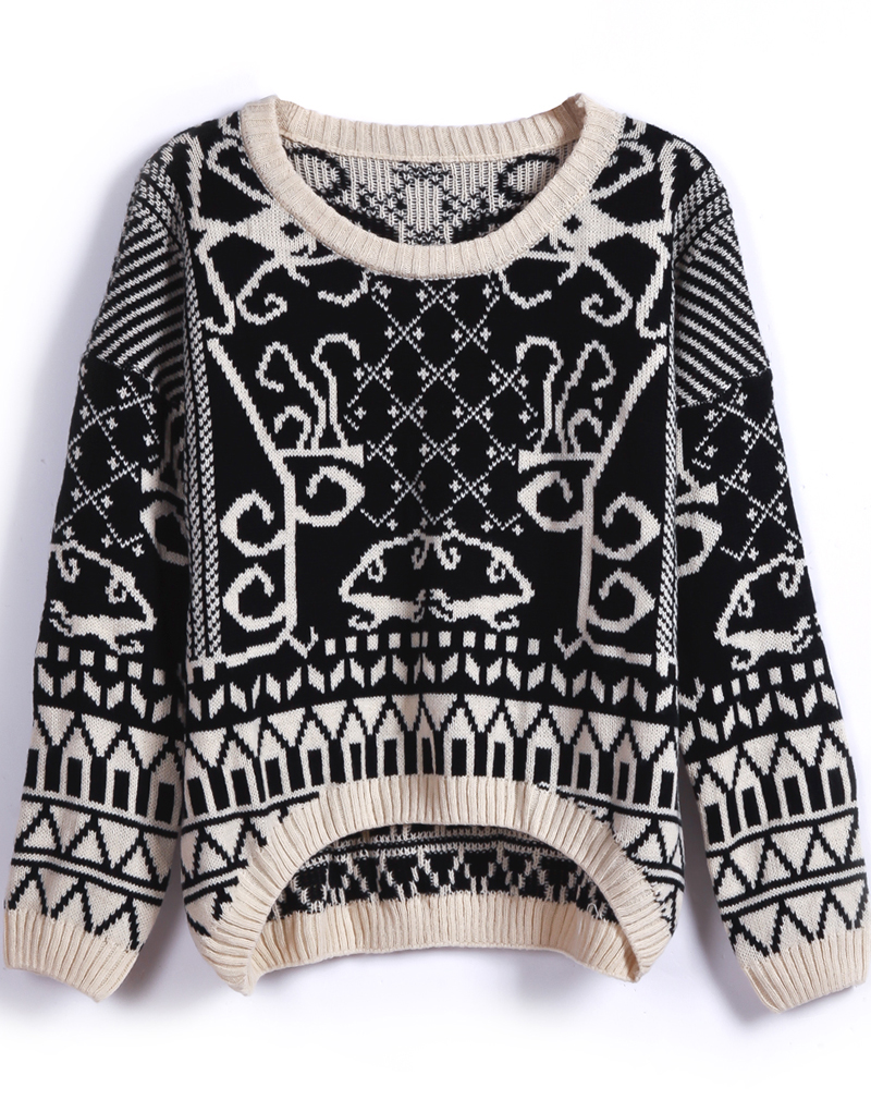 Black Long Sleeve Geometric Pattern Knit Sweater - Sheinside.com