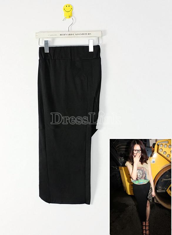Korea Women Sexy Irregular Side Open Fork Design Bag Hip Long Skirt