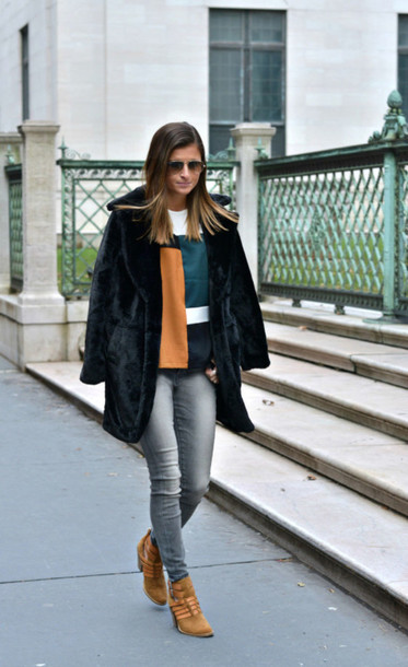 to be bright blogger colorblock ankle boots black coat coat jeans top shoes