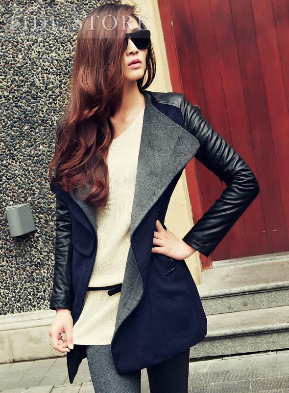 Temperament Color Block Slim Split Joint Woolen Long Trench Coat: tidestore.com