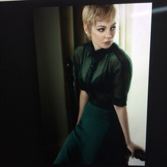blouse lace skirt michelle williams green skirt