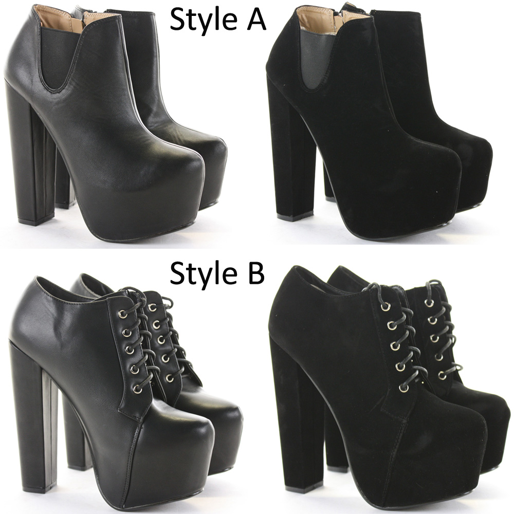 Womens heeled Booties High Heels Block Shoes Platform Chelsea Ankle Boots Size | eBay