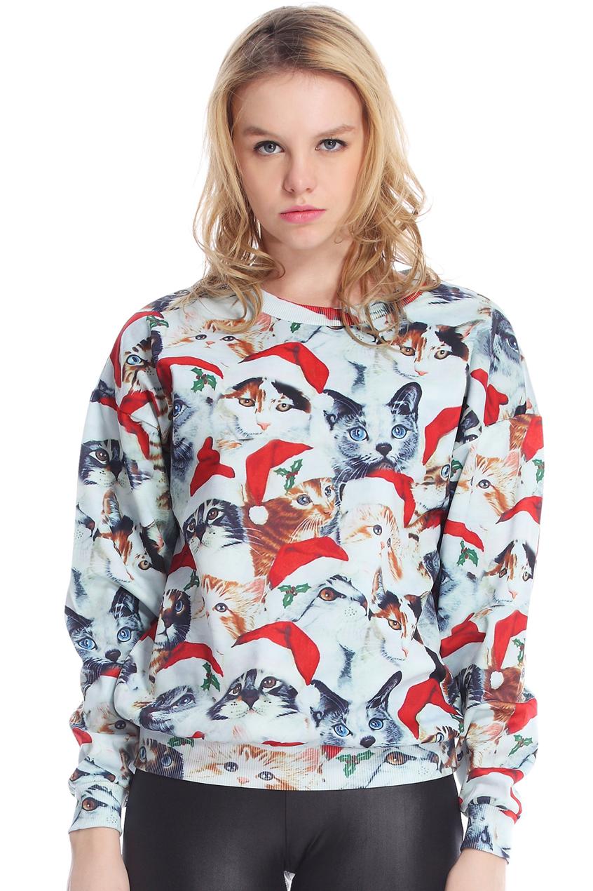 ROMWE   ROMWE Christmas Cats Print Long-sleeved Sweatshirt, The Latest Street Fashion