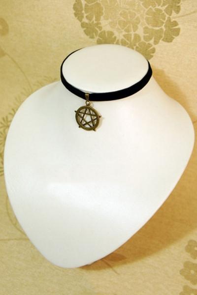 Star Pendant Velvet Strip Necklace - OASAP.com