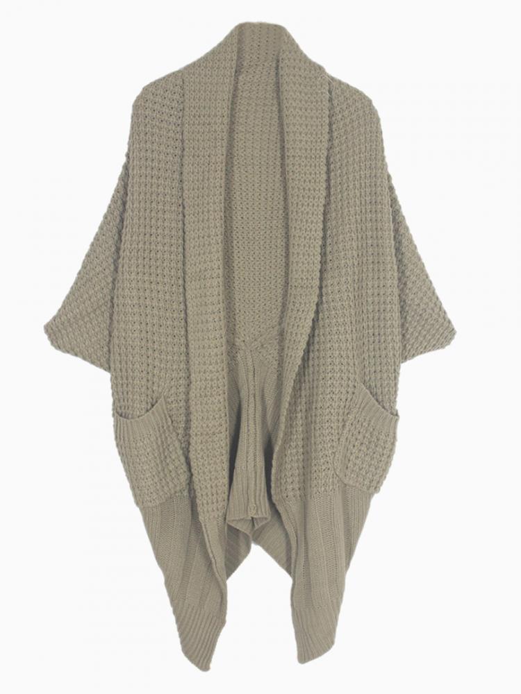 Oversize Asymmetric Cable Cardigan | Choies