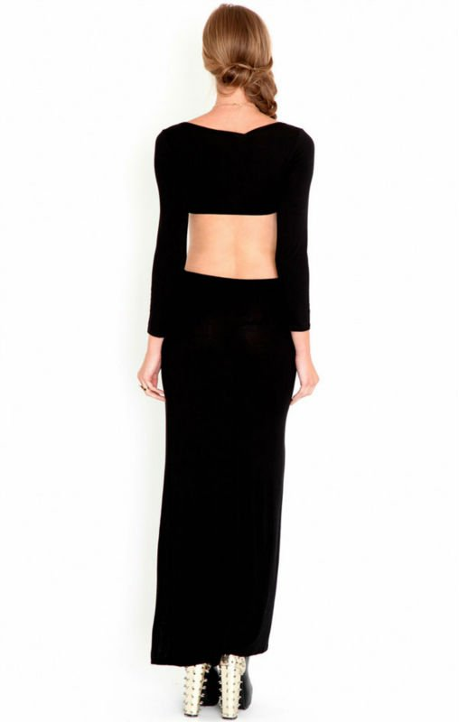 Maix Black Jersey Maxi Dress Wslit To Thigh At Front D-1228 - Buy Maix Black Dress,Deep Cut Dress,Dress Cutting Design Product on Alibaba.com