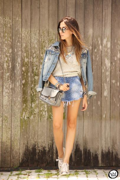 fashion coolture blogger denim jacket satchel bag pocket t-shirt skirt sweater sunglasses bag shoes