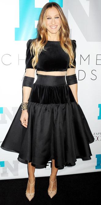 dress fashion sarah jessica parker black shoes
