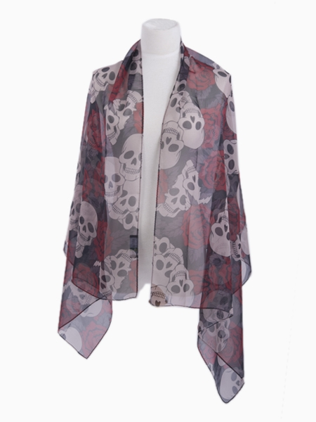 LEMONPAIER Skull And Floral Print Scarf | Choies