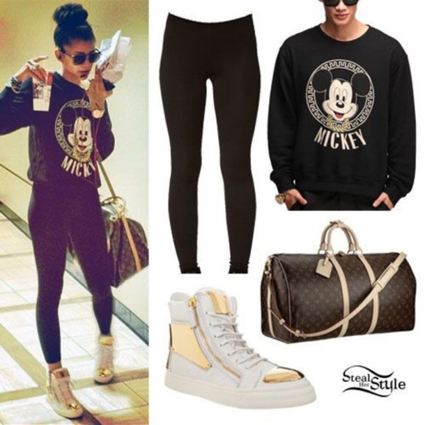 sweater shoes bag tights blouse