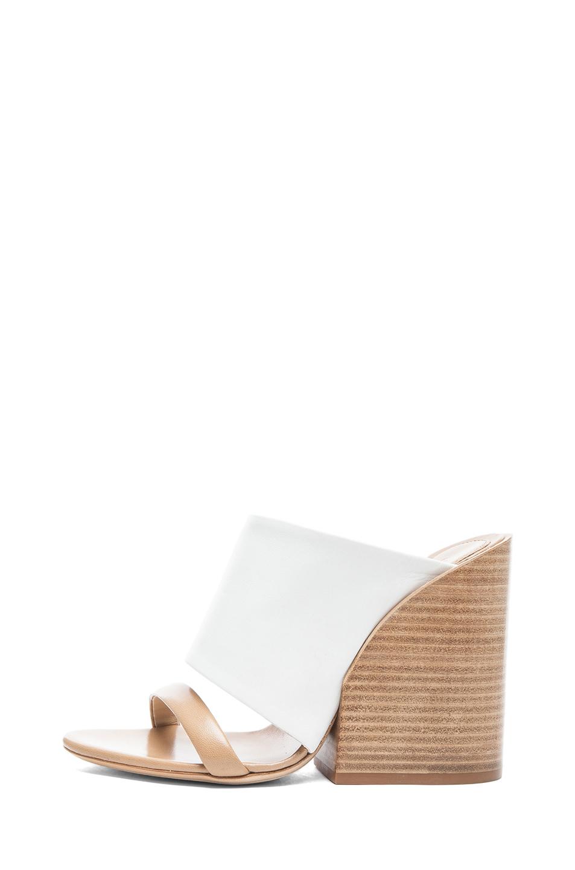 Chloe Mule Nappa Leather Sandals in White & Tan