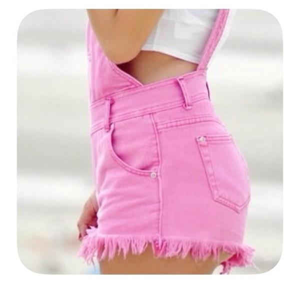 shorts pink denim overalls