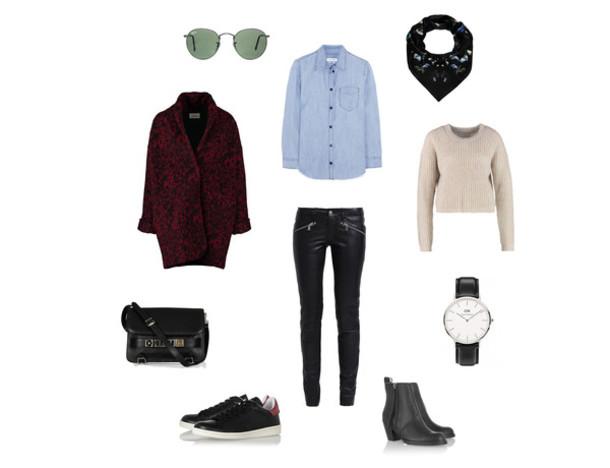 clochet blogger sunglasses shirt scarf coat pants sweater bag jewels shoes