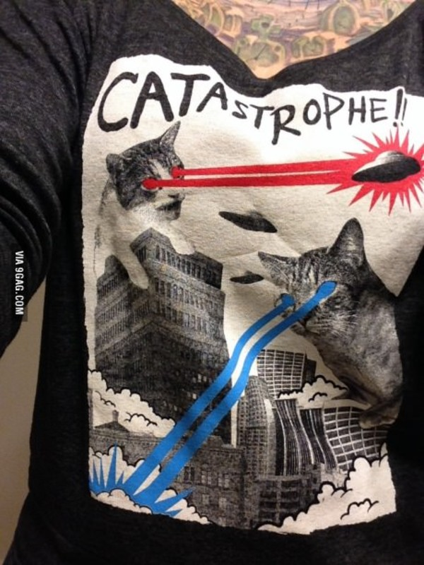 shirt t-shirt cats cats grey white quote on it catastrophe alien alien red blue funny