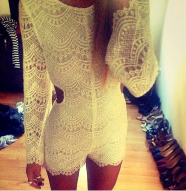 dress lace white romper jumpsuit long sleeves lace dress cute dress white romper white dress cut-out cut-out dress cut out romper luxury blouse shorts www.ebonylace.net
