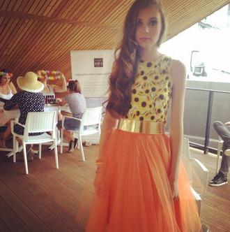 top sunflower sunflower top tulle skirt skirt peach color/pattern sunflowers topp sunflowers top golden belt summer outfits