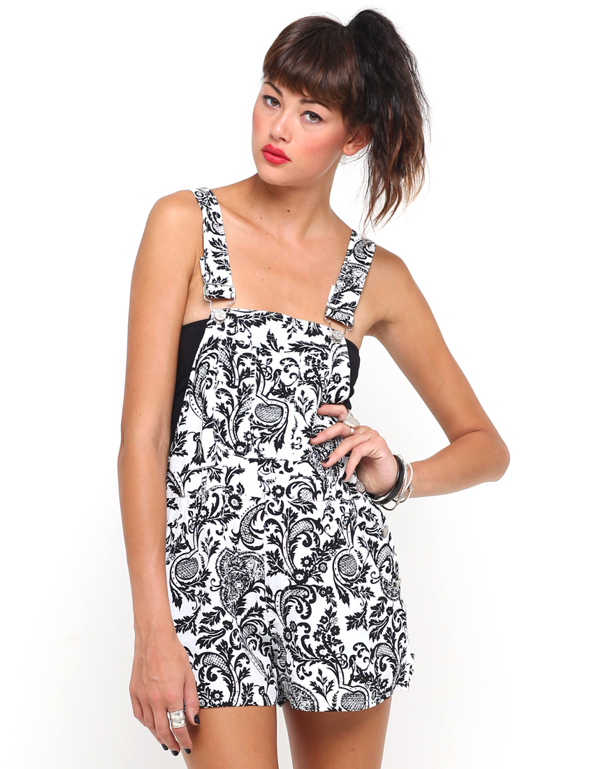 Buy Motel Demi Dungarees in White and Black Paisley at Motel Rocks