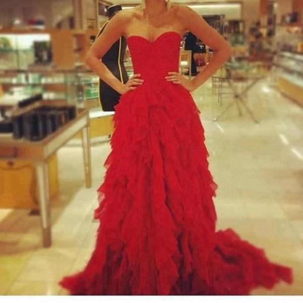 dress red dress prom dress ruffle