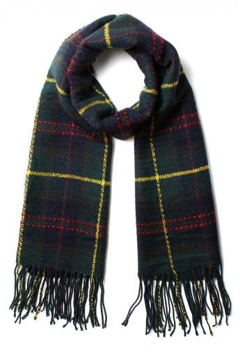 Scotland Check Fringe Scarf in Green - Retro, Indie and Unique Fashion