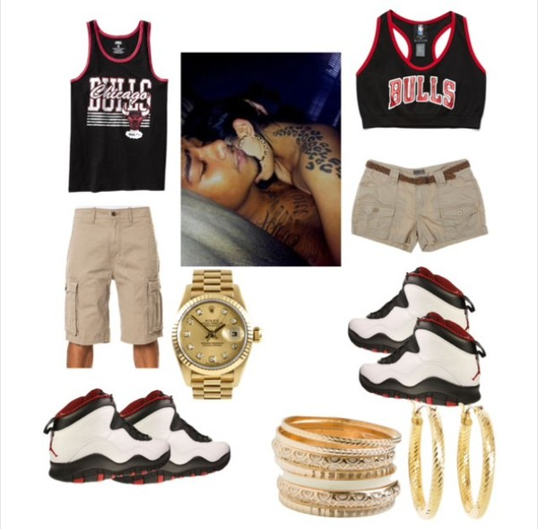 matching outfits. chicago bulls matching couples jordans shoes