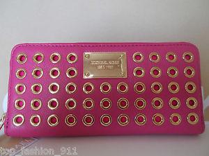 BNWT Michael Kors Studded Hot Pink Leather Zip Around Accordian Wallet Clutch   eBay