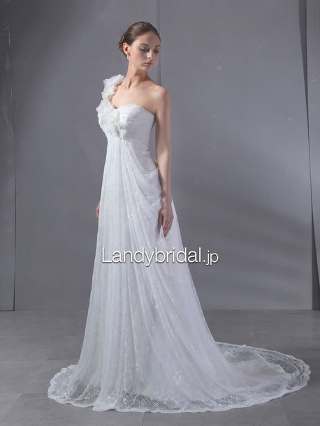 dress スレンダー ウェディングドレス ワンショルダー